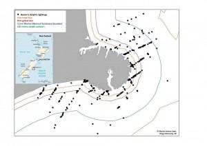 Hector's dolphin map (c) Otago University